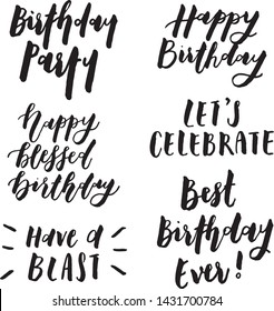 Happy Birthday Quotes with 6 different unique lettering designs