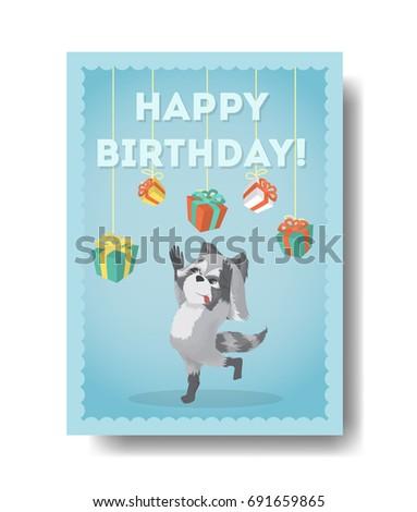 Happy Birthday Raccoon Birthday Gift Card Stock Vector Royalty Free