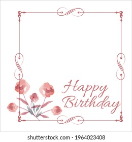 Happy Birthday Red Photo frame, Happiness, Happy Birthday Text Effect, Birthday Vector on White Background, Party Photo Frame, Red Shade, Red Roses, Flower, Party Elements, Birthday Wish.