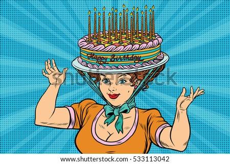 Happy Birthday Retro Woman And The Hat Cake