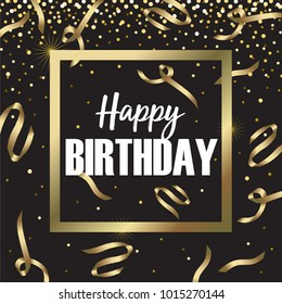 Happy Birthday Script Gold Foil Vector Illustration 1