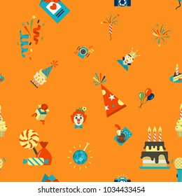 Happy Birthday Seamless Background Pattern. Simple, Minimalistic and Flat Style. Colorful. Vector