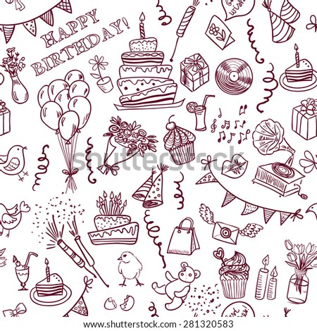 Happy Birthday Seamless Pattern Doodle Hand Stock Vector Royalty