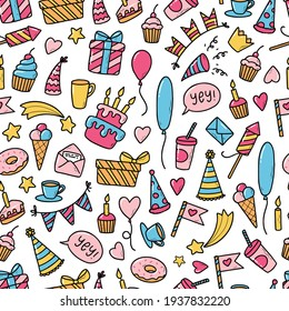 Happy Birthday seamless pattern with hand drawn doodles for present wrapping paper, wallpaper, textile prints, scrapbooking, stationary, etc. EPS 10