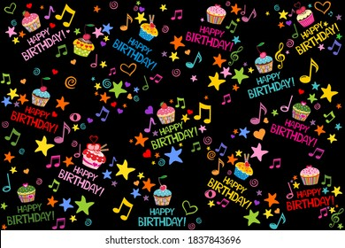 Happy birthday. seamless wrapping paper. Menu design. Template for a baking shop, cafe. Seamless pattern with cupcakes. Delicious birthday party cupcakes with fruits whipped cream. Vector Illustration