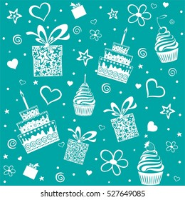 Happy birthday. Seamless wrapping paper. Vector Illustration