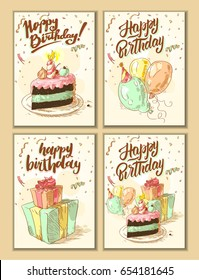 Happy birthday. Set of cards. Good for greeting card for birthday, invitation or banner. Vector illustration.
