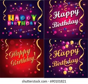 Happy Birthday set cartoon