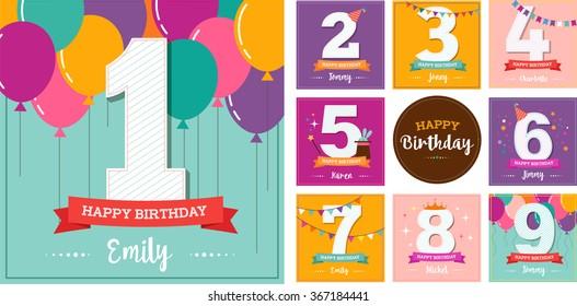 Happy Birthday set of greeting cards