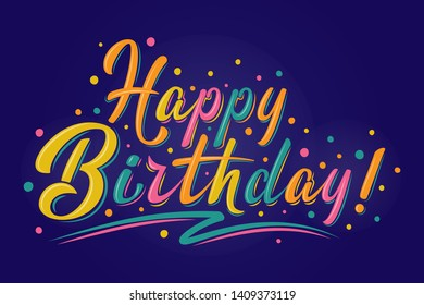 Happy Birthday sign. Vector multicolored logo. Hand drawn modern brush lettering on dark blue background. For holiday design, postcard, party invitation, banner, poster. Greeting label template