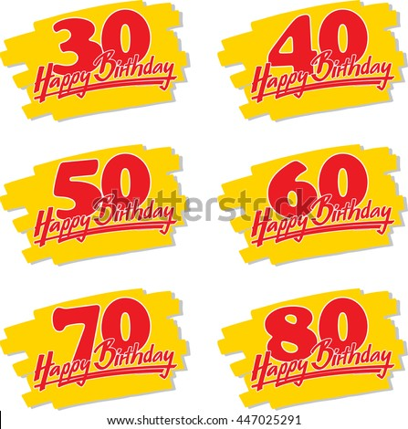 happy birthday signs 30 80 on stock vector royalty free 447025291