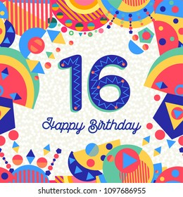 Happy Birthday sixteen 16 year fun design with number, text label and colorful decoration. Ideal for party invitation or greeting card. EPS10 vector.