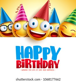 Happy birthday smileys vector background design with yellow funny and happy emoticons and birthday greeting text in empty white background. Vector illustration.