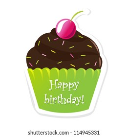 Happy Birthday Sticker With Berry, Vector Illustration