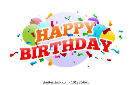 Happy Birthday Surprise Party Vector Graphic Card Design