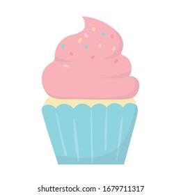 happy birthday sweet cupcake snack celebration isolated icon vector illustration