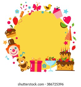 Happy Birthday template card. Flat vector illustration. Kids party and celebration design elements. Cake, gift, bear, clown.