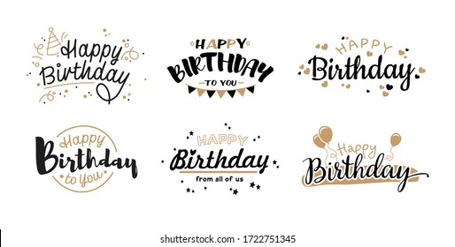 Happy birthday templates flat icon collection. Handwritten vintage party calligraphy vector illustration set. Typography and script banners concept
