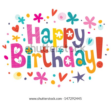 Happy Birthday Text Stock Vektorgrafik Lizenzfrei 147292445
