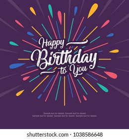 Happy birthday text box, Color firework with dark background.