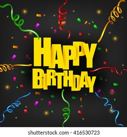 Happy Birthday text with colorful ribbons