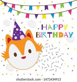 happy birthday text with cute head fox