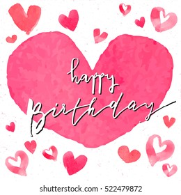 Happy birthday text pink watercolor hearts