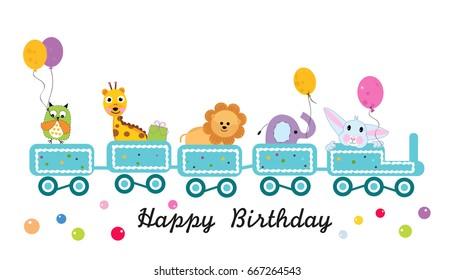 Happy birthday train with animals. Greeting card