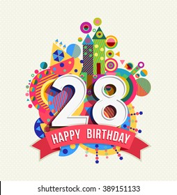 28th birthday images stock photos vectors shutterstock happy birthday twenty eight 28 year fun celebration anniversary greeting card with number text bookmarktalkfo Gallery