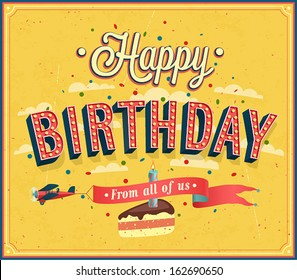 Happy birthday typographic design. Vector illustration.