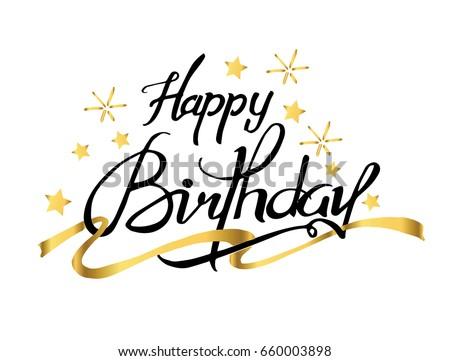 Happy Birthday Typographic Gold Stars Ribbon Stock Vektorgrafik