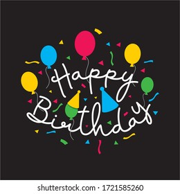 HAPPY BIRTHDAY TYPOGRAPHIC FOR INVITATION CARD, BIRTHDAY CARD, GREETING CARD AND VECTOR LETTERING ILLUSTRATION