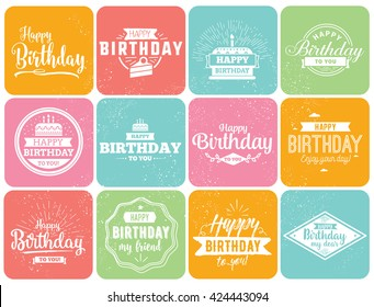 Happy Birthday typographic set. Vector design for greeting cards, print and cloths. Isolated Birthday lettering compositions.