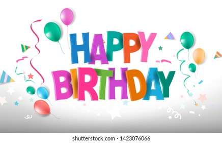 Happy Birthday typographic vector design for greeting cards, Birthday card, invitation card. Isolated birthday text, lettering composition. Vector Illustration eps.10 - Vector