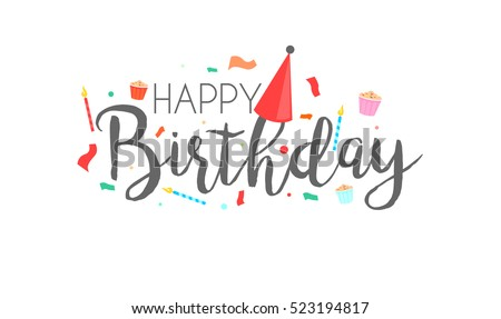 Happy Birthday Typographic Vector Design For Greeting Cards Card Invitation Isolated