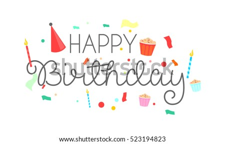 happy birthday typographic vector design greeting のベクター画像