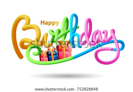 Happy Birthday Typographic Vector Design 3 D Stock Vector Royalty