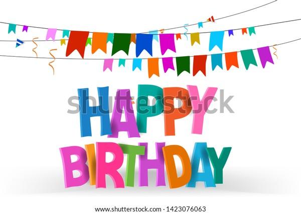 Happy Birthday Typographic Vector Design Greeting