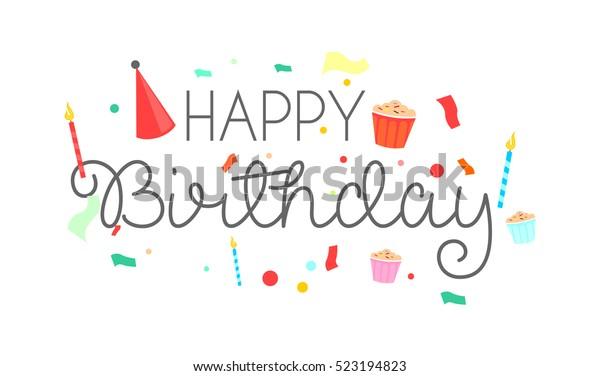 Happy Birthday Typographic Vector Design Greeting Wektorowa