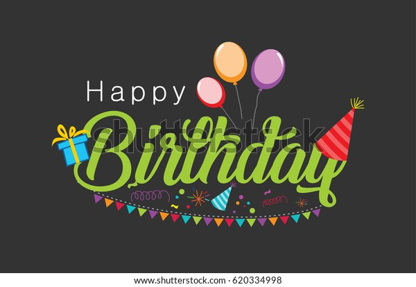 Happy Birthday Typographic Vector Design Greeting Stock