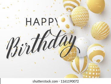 Happy birthday typography design for greeting card, poster or banner with realistic golden balloons,and falling confetti in celebration concept. Vector eps10.