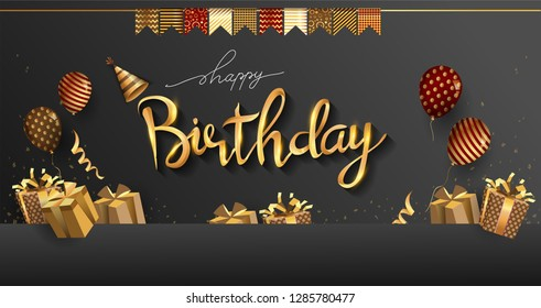 Happy Birthday typography design for greeting cards and invitation, with balloon, confetti and gift box, elegant design with gold and black color, design template for birthday celebration
