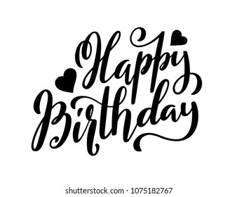 Happy Birthday typography with hand-drawn lettering. Vector illustration.