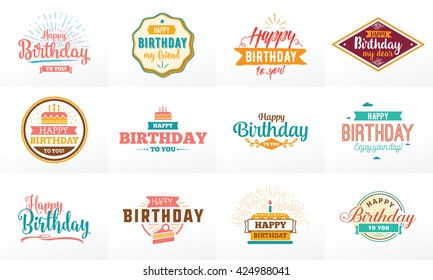 Happy Birthday typography set. Vector text design for greeting cards, print and cloths. Isolated lettering compositions, emblems.