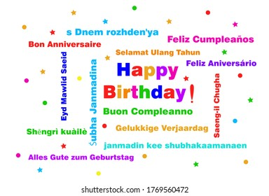 Happy Birthday typography text isolated on white background