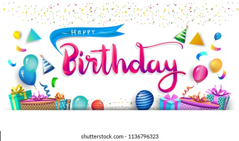 Happy Birthday Typography Vector Design Greeting Stock Vector
