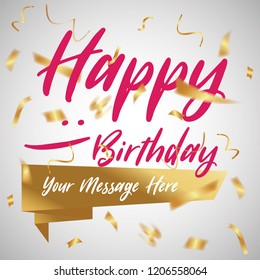 Happy Birthday typography vector design with Golden confetti for greeting cards and poster, design template for birthday celebration.