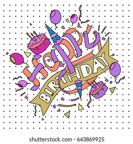 Happy Birthday typography vector design for greeting cards and poster with balloon, cake, confetti and gift box, design template for birthday celebration.