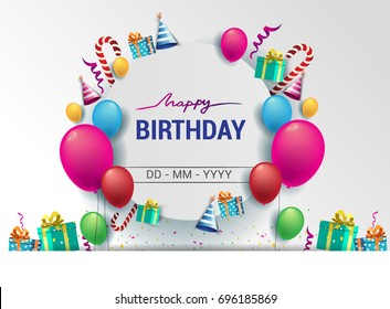 Happy Birthday typography vector design for greeting cards and poster with balloon, confetti, cake