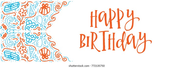 Happy Birthday typography vector design for greeting cards. Hand drawn vintage illustration with hand-lettering and decoration elements. Drawing for prints on t-shirts and bags, stationary or poster.